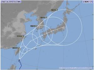 台風15号の経路予想図(気象庁:8月28日午前9時発表のもの)