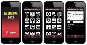 「周波数帳2013」の画像。必要なデータを購入するとエアーバンドから鉄道、消防・救急波まで様々なジャンルが検索できる