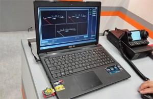 ワイヤレスSWRメーター、CMX-W30のデモ画面。VSWR検出部とはWi-Fiでリンク