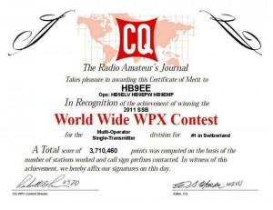 「CQ WW WPX SSB Contest」の賞状(HB9BBのブログから)