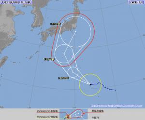 気象庁が13日午前9時50分に発表した、台風18号の72時間進路予想図