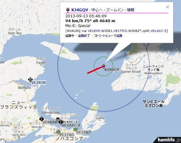 KJ4GQVの位置情報をaprs.fiで検索した画面。アイコンが気球だ