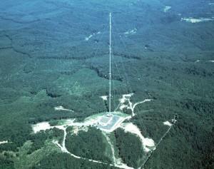 おおたかどや山標準電波送信所の空撮(写真:独立行政法人 情報通信研究機構提供)