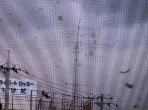 タワー自体はしっかりしているように見えるが、一方のアンテナは強風に為す術もない(「とくダネ!」の映像を一部拡大)