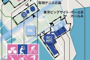 JOCが発表した招致計画書より。東京ビッグサイトを競技会場と国際放送センター、メインプレスセンターとして使用することが明記されている