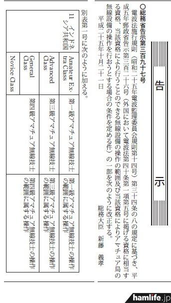 10月21日の官報に掲載された、総務省告示第397号