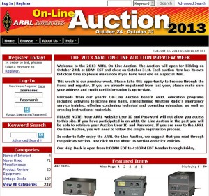 ARRL On-Line AuctionのWebサイト