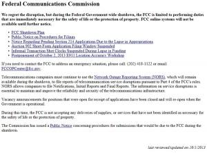 閉鎖を伝えるFCCのWebサイト