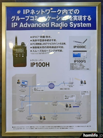 「IP Advanced Radio System」とIP100Hの説明パネル。無線LANを利用したトランシーバーという発想がユニークだ