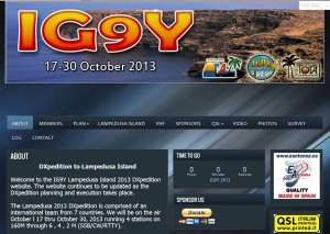 IG9YのWebサイト。ペディションの最新情報が満載だ。運用は10月30日までを予定