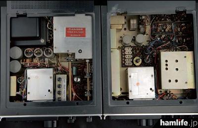 T-599S(左)とR-599S(右)の内部。レストア前で多少汚れはあるが、当時の最新技術が結集されていることがわかる