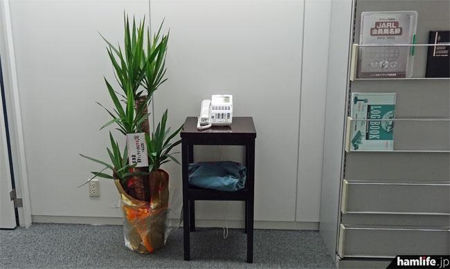 6階のオフィス入り口には、内線電話を設置。その横には一般財団法人 日本アマチュア無線振興協会(JARD)から届いた移転祝の鉢植えがあった。