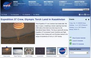 3名の宇宙飛行士の帰還を伝えるNASAのWebサイト