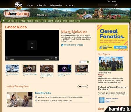 米ABC「Last Man Standing」のWebサイト。残念ながr動画は日本からは視聴できないようだ
