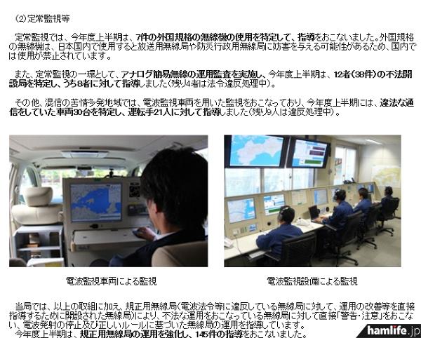 電波監視車両や電波監視設備による監視の様子も紹介(同報告書から)