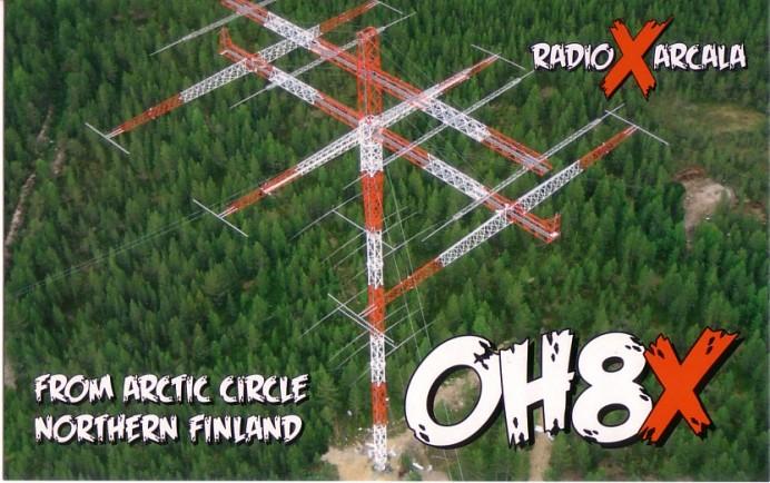 フィンランドの著名アマチュア無線クラブ、OH8XのQSLカード。160mの八木など、巨大アンテナ群で強力な信号を発信していた