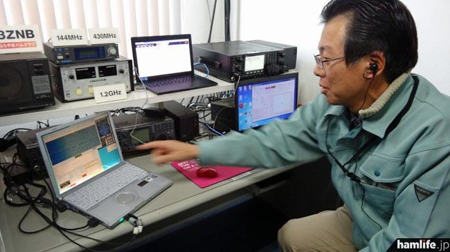 JK3ZNBクラブシャックではEME(月面反射通信)のデモンストレーションも。ZLとの交信に挑戦していた