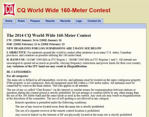 「CQ World Wide 160-Meter Contest」ルールの一部(同Webサイトから)