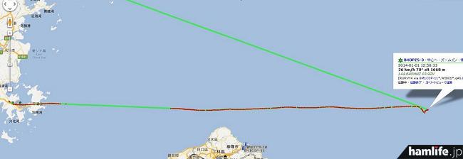 確かにAPRSの地図で見ると尖閣諸島沖の洋上に軌跡があるが、これが話題の気球なのだろうか?