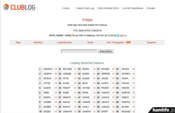 FT5ZMの「オンラインログ(ログサーチ)」画面。自局のコールサインを入力すると交信の有無がわかる