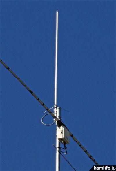 最上部には144/430/1200MHz帯用と思われるGPを設置。その下はローバンド用ロータリーDPの給電部か?