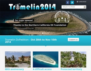 トロメリン島DXペディションのWebサイト。NCDXFの支援に対する謝辞が記載されている