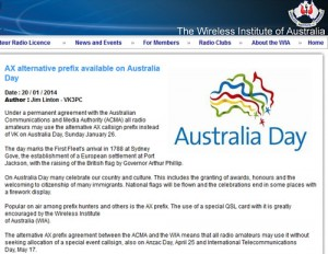 オーストラリアのアマチュア無線協会(WIA)がWebサイトに掲載した告知