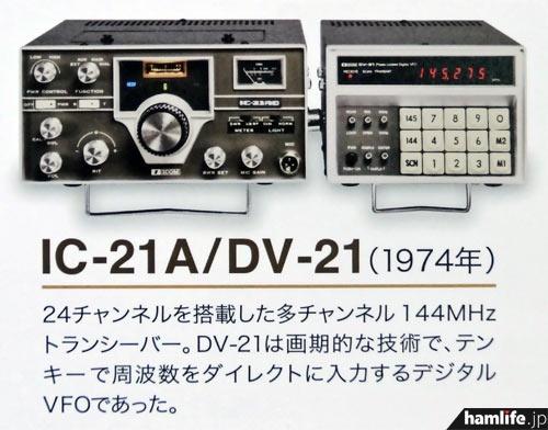 144MHz帯FM固定機、IC-21AとDV-21(アイコムカレンダーより)
