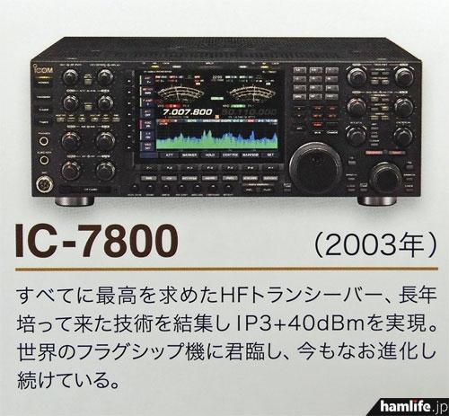 2003年に発売開始された、アイコムのフラッグシップモデル、IC-7800(アイコムカレンダーより)