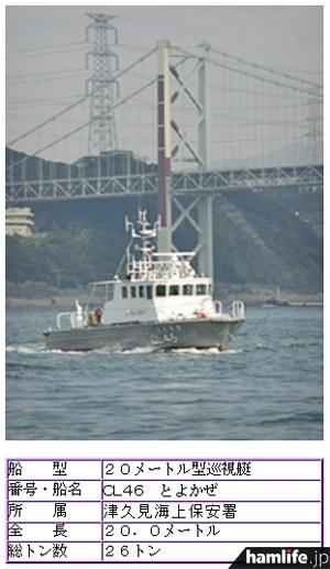 大分海上保安部の巡視艇「とよかぜ」(第7管区海上保安本部のWebサイトより)。津久見分室所属の巡視艇はこの1隻のみだ