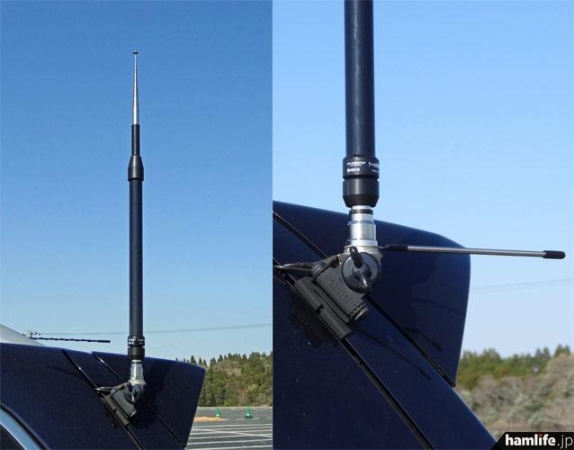 RHM10上部の伸縮式のロッドエレメントを縮めると、144MHz帯の1/4波長、430MHz帯の5/8波長のホイップとして使用可能。その場合は付属のラジアルエレメントを基台のM型コネクターとの間に挟み込む