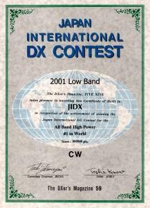 「JAPAN INTERNATIONAL DX CONTEST(電信部門)」の賞状(同Webサイトから)