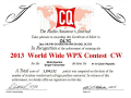 「CQ World-Wide WPX Contest CW」の賞状(OL7Cから)