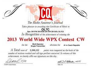 「CQ World-Wide WPX Contest CW」の賞状(OL7Cから)