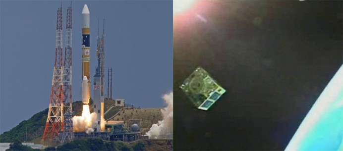 HIIAロケット24号機の打ち上げシーンと、放出された小型衛星(写真提供:JAXA)