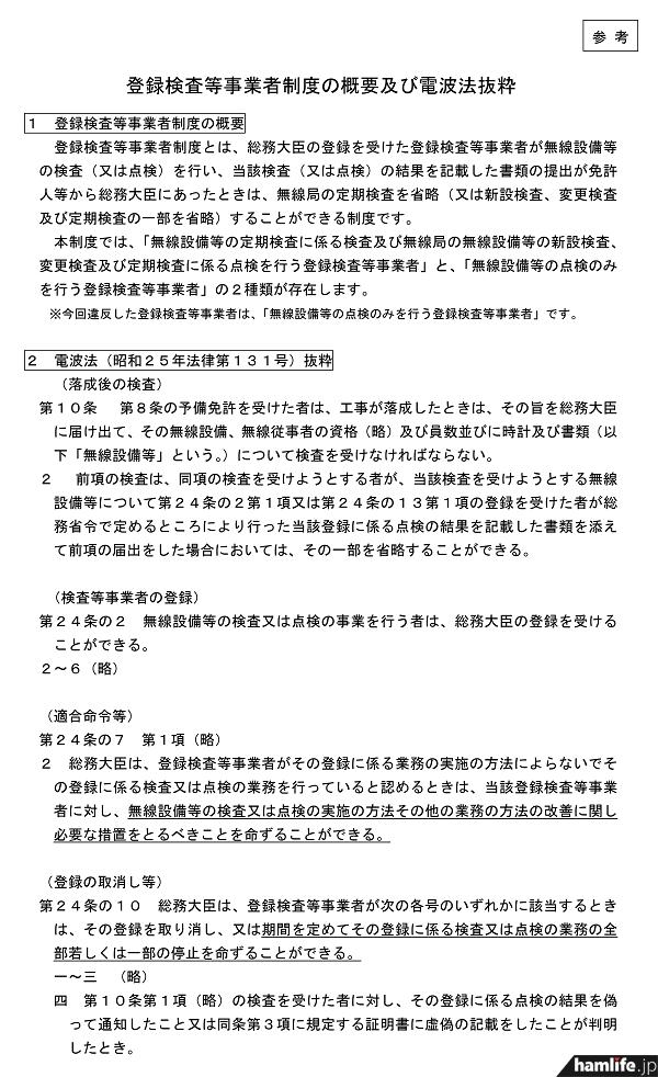 【参考】登録検査等事業者制度の概要及び電波法抜粋(同Webサイトから)