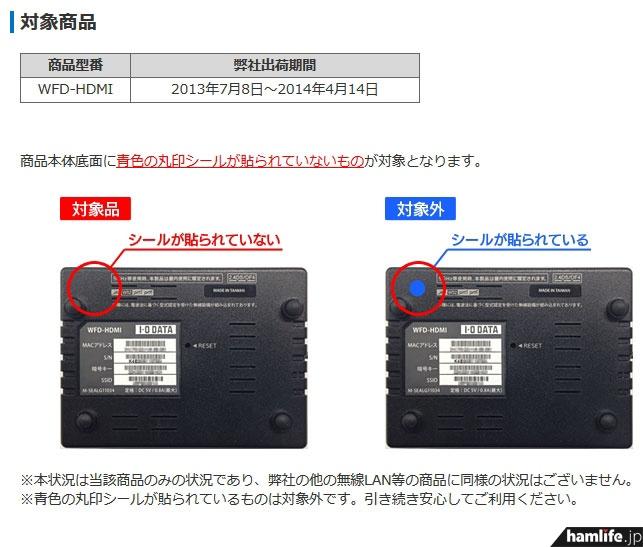 メーカーが即時使用中止を呼びかけている、無線HDMIアダプター「WFD-HDMI」(アイ・オー・データ機器のWebサイトより)