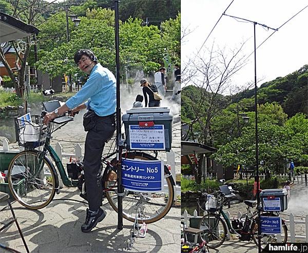 製作した自転車モービルにまたがる、JR1OAO・中島氏(写真左)。自立式マストは最大10m高で八木やデルタループなど、さまざまなタイプを用意
