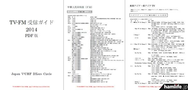 「TV-FM 受信ガイド 2014 受信編」のPDFより抜粋。貴重な受信データが満載だ
