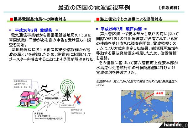 【参考資料】最近の四国の電波監視事例(同報道資料から)