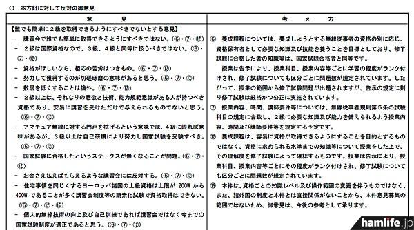 総務省が公表した、意見結果より一部抜粋。全文は総務省サイトにてPDF形式で閲覧できる