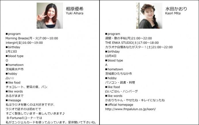 パーソナリティを務める、相原優希と水田かおりのプロフィール(FMぱるるんより)