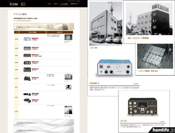 アイコムの歴史と無線機器開発の歩みを10年単位で振り返るコーナー