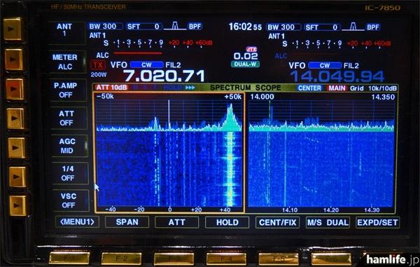IC-7850のディスプレイ画面。メイン・サブ両バンドのスコープがウォーターフォールつきで表示可能。しかも高速動作が可能