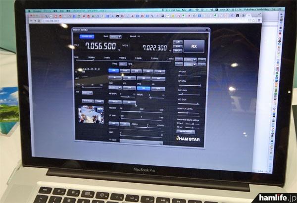 Webブラウザ上から遠隔操作が可能。左下にはシャックに設置されたカメラの画像も表示されている