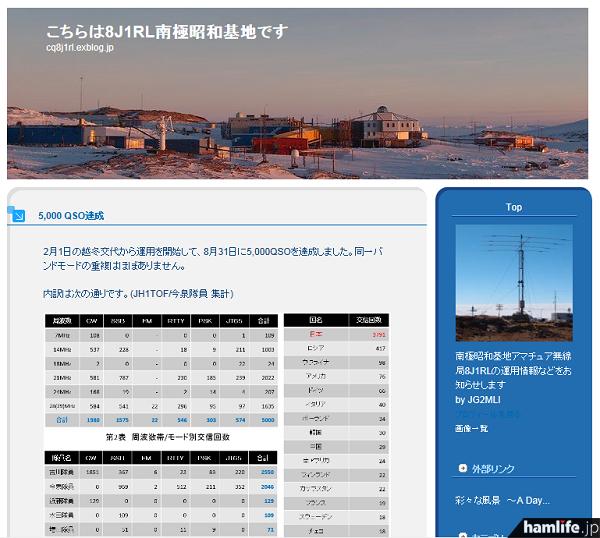 ブログ「こちらは8J1RL南極昭和基地です」で、第55次隊員が5,000QSO達成!を報告した