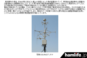 東海管内に約30か所設置されているというセンサー局のアンテナ