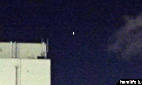 10月27日夕、ARISSスクールコンタクトの時間帯に西日本上空を飛行する、国際宇宙ステーション(ISS)=JM3DUR・島村隆久氏撮影