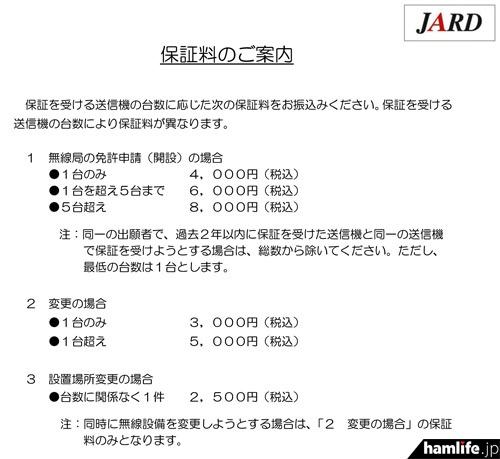 JARDが発表した、保証業務の料金体系