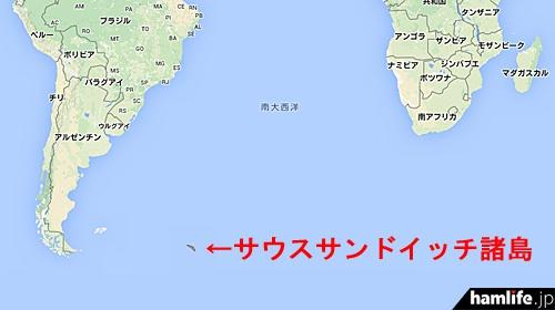 サウスサンドイッチ諸島の位置